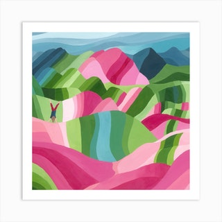 Montana De Colores Square Art Print