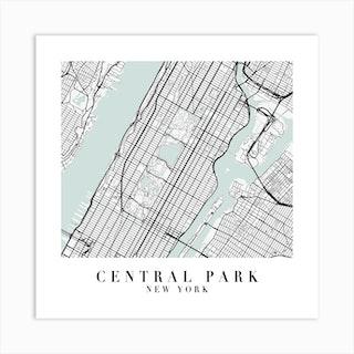 Central Park New York Street Map Minimal Color Square Art Print