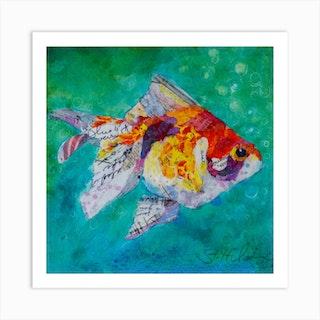 Colorful Collage Artwork Fan Tail Goldfish Square Art Print