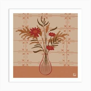 Vase Of Flowers In Grandmas House Square Art Print