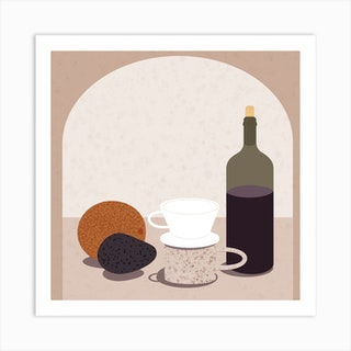 Self Isolation Essentials Still Life Square Art Print