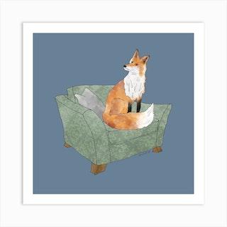 Mr Fox Square Art Print