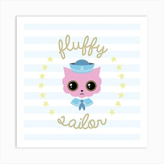 Fluffy Sailor Square Art Print