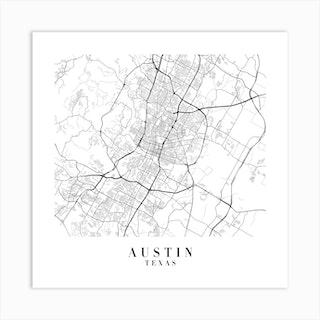 Austin Texas Street Map Minimal Square Art Print