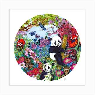 Pandas Playing Square Art Print