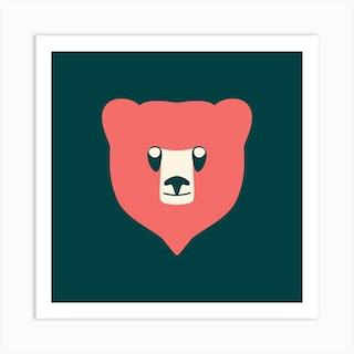 Bear Cub Coral Art Print