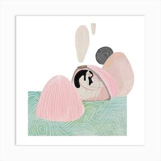 Little Vulcano Girl Square Art Print