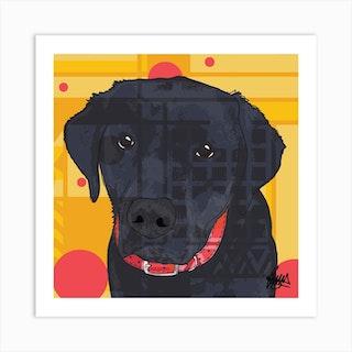 Monty Blck Labrador Square Art Print