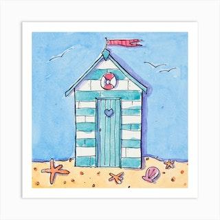 Stripey Beach Hut Square Art Print