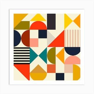 Mid Century Bauhaus 1 Square Art Print