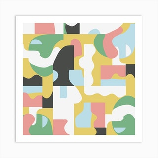 Organic Matisse Blocks Pink Mustard Square Art Print