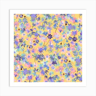 Spring Daisies Floral Mustard Square Art Print