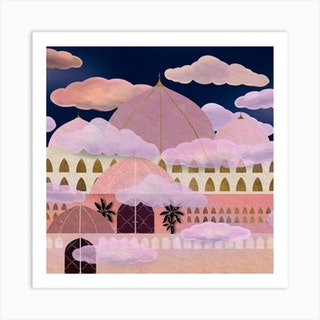 Cloud Palace Square Art Print