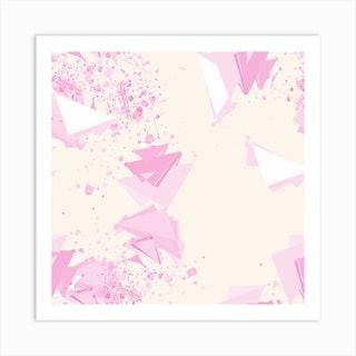 Abstract Pattern Geometric Pink Square Art Print