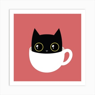 Coffee Cat Square Art Print