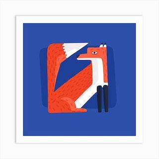 Abstract Fox Square Art Print