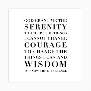 The Serenity Prayer Capitalized Square Art Print
