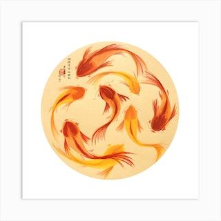 Koi Fish Square Art Print