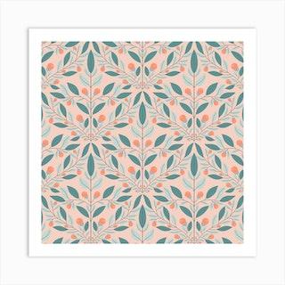Cream Floral Diamond Square Art Print