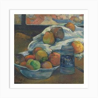 Bowl Of Fruit And Tankard Before A Window, Paul Gauguin Art Print