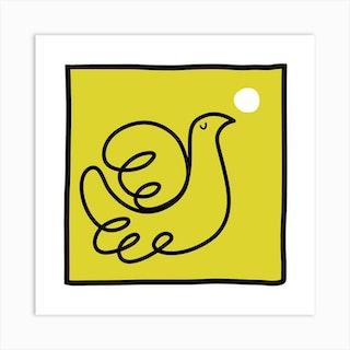 Dove In Yellow Square Art Print