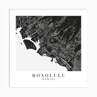 Honolulu Hawaii Minimal Black Mono Street Map  Square Art Print