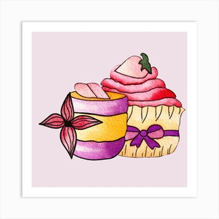 Purple And Pink Cupcakes Square Art Print