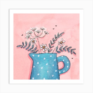 Spotty Blue Jug With Daisies And Cowparsley Square Art Print