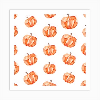 Halloween Pumpkin Pattern Square Art Print