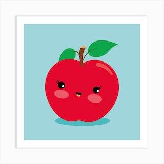 Nursery Kawaii Red Apple Art Print