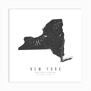 New York Mono Black And White Modern Minimal Street Map Square Art Print