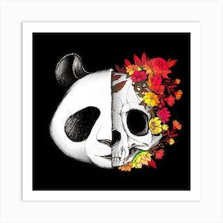 Panda Skull Rock Square Art Print