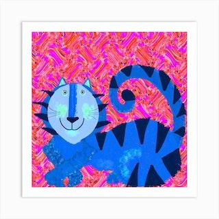 Blue Tiger Square Art Print