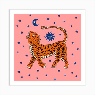 Tiger Temple Stars Pink Square Art Print