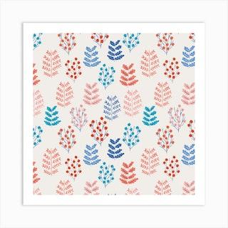 Be Calm Pattern I Square Art Print