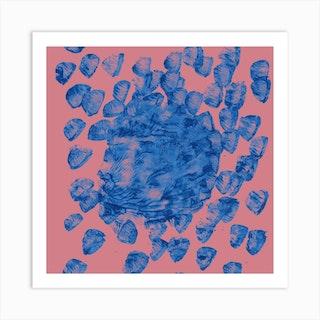 Brush Push One Apricot Square Art Print
