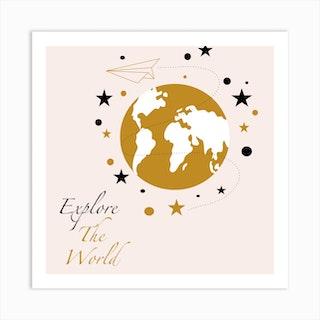 Golden World Map Square Art Print