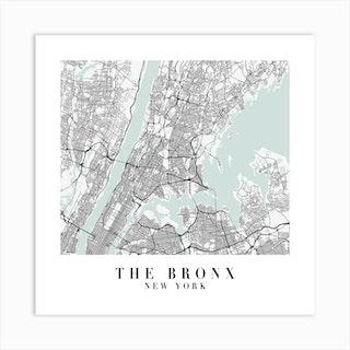 The Bronx New York Street Map Minimal Color Square Art Print
