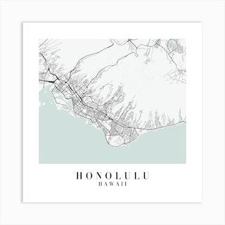 Honolulu Hawaii Street Map Minimal Color Square Art Print