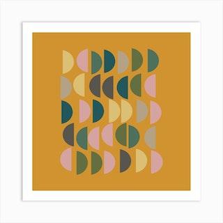 Half Circles In Mustard Square Art Print