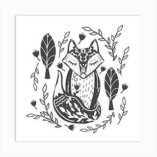 Woodland Fox Square Art Print