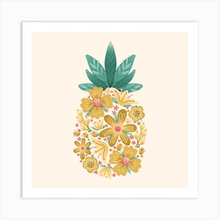 Floral Pineapple Square Art Print
