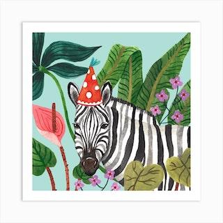 Party Zebra Square Art Print