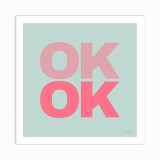 Ok Ok Duck Egg Square Art Print