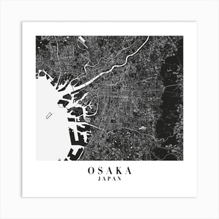Osaka Japan Minimal Black Mono Street Map  Square Art Print