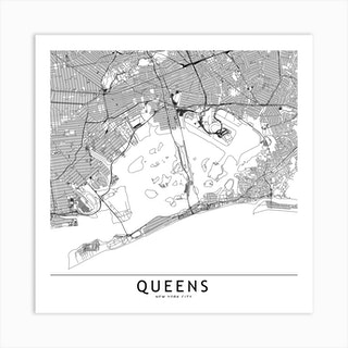 Queens White Map Square Art Print