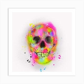 Fluro Skull Art Print
