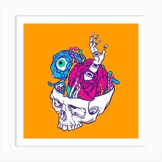New Life Of Yorick's Skull Square Art Print