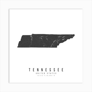 Tennessee Mono Black And White Modern Minimal Street Map Square Art Print