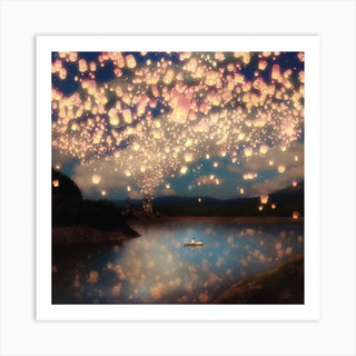 Wish Lanterns for Love Art Print